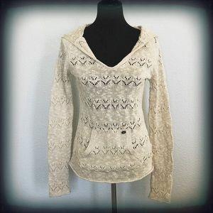 Roxy Tan Hooded Sweater Front Pocket EUC